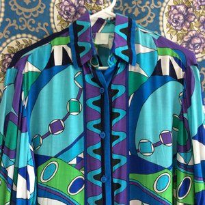 Pucci Inspired Shirt - Blue Green Purple Abstract